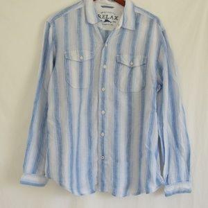 Tommy Bahama Blue Stripe Button Down Shirt XL